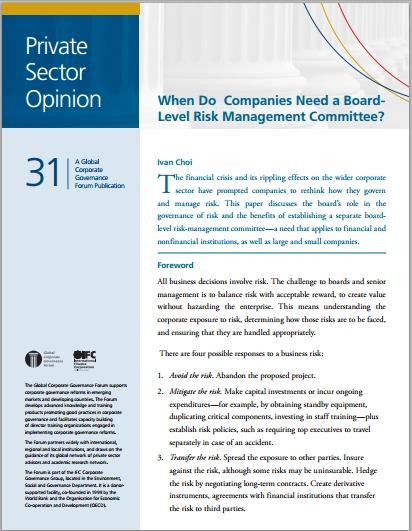 corporate risk management essay